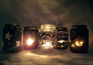 Mécsestartó bébiételes/befőttes üvegből szeretteink emlékére